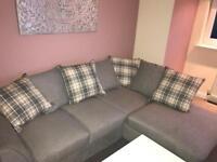 Grey fabric left hand corner sofa with cushions £270