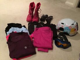 Girls ski helmet, goggles, boots, base layers and gloves