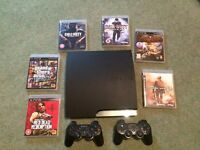 PS3 Slimline Console 160GB Black + 2 Controllers + 6 Games