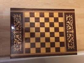 Italian Inlaid Miniature Chess Table with Music Box