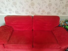 3 + 2 red cord sofas