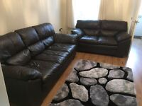 Leather sofa suite, two and three seater, DFS, Mocha Brown, two year old £600 ono