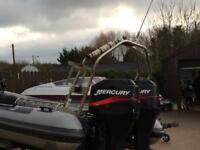 75hp Mercury outboard boat engine x2
