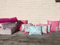7 reversible shabby chic cushions. Fleece throw & 2 lined baskets.
