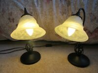 PAIR OF BLACK METAL TABLE LAMPS WITH BIRD CAGE DETAIL