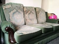 Green floral pattern 3 seat sofa