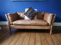John Lewis Halo Groucho Small 2 Seater Leather Sofa, Riders Nut