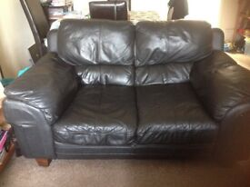 2x 2 seater Black real leather sofas