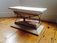 Glass and marble coffee table