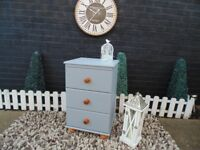 SINGLE SOLID PINE BEDSIDE CABINET PAINTED WITH LAURA ASHLEY PARIS GREY AND WAXED FOR PROTECTION
