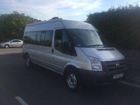 2008 , ford , transit , minibus , silver ,long wheel base , only 62k , 2400cc , manual , diesel