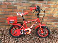 """Apollo red fire chief kids 12"""" bike, with stabilizers, excellent condition, £15."""