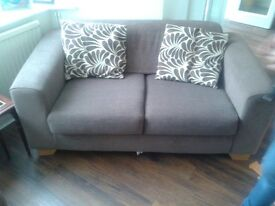 2 Brown Fabric Sofas with Matching Pillows