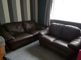 Two brown leather sofas 2 and 3 seaters