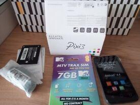 Brand New Unlocked never used! Alcatel Pixi 3 (3.5) + 7GB sim card...
