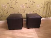 Two chocolate brown footstool/seat , fake leather,very good condition