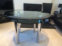 Black/Chrome Glass Dining-Table and 4 Faux-Leather Black Chairs