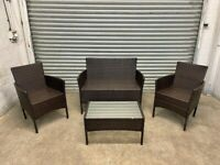FREE DELIVERY BROWN GARDEN RATTAN FURNITURE SOFA, CHAIRS & TABLE SET GOOD CONDITION