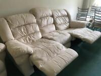 Cream 3 piece sofa and chairs all reclining