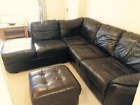 Brown Italian leather corner sofa with footstall
