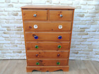 Quirky Large Tallboy Pine Chest of Drawers (Delivery)