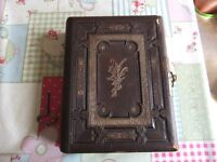 VICTORIAN MUSICAL LEATHER BOUND PHOTO ALBUM HAS 46 ORIGINAL VICTORIAN PHOTOS GOOD CONDITION FOR AGE