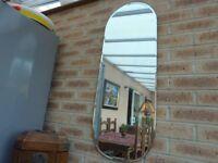 Long Vintage 40's Art Deco Bevelled Mirror 91cm x 36cm