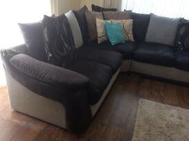 Black and gray 8 foot+ 8 foot corner side. Slightly faded Smoke free with cushions. Left side