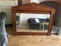 Large solid wood mirror with shelf, stunning.