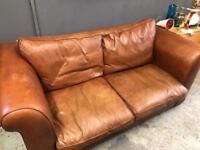 Laura Ashley Burgess tan leather sofa