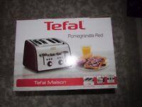 TEFAL Maison TT7705UK 4-Slice Toaster Stainless Steel &Pomegranate Red