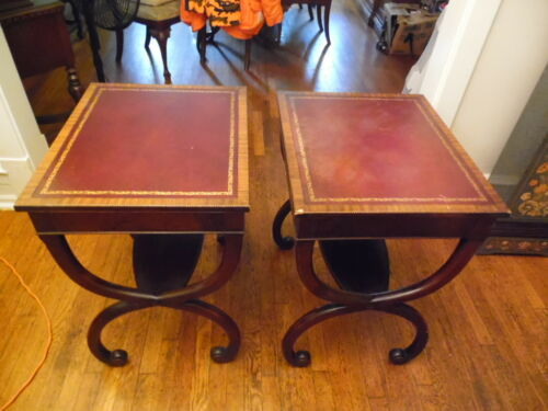 Vintage Leather Top Curved Legs Table Solid Carved Wood Mahogany Side Coffee