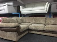NEW / Ex Display DFS Mink Cord Corner Sofa
