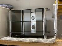 small black and chrome tv unit