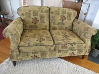 Sofa - Westbury in gold fabric with autumn fruit design and Oxford piping