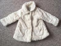 John Lewis white fluffy coat 12-18 months