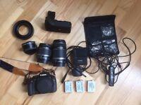 Digital SLR Camera Canon 550D, 2 lenses, battery grip and extras