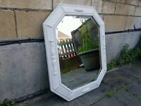 Vintage Shabby Chic Chalk Painted Mirror.