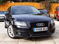 2008 AUDI A3 2.0 TDI S LINE ***FSH+LEATHER+AUX+T/BELT DONE*** ****** black edition a4 golf gtd 1.6