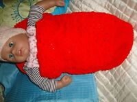 BABY ANNABELL BABY BORN NEW BABY SLEEPING BAG COCOON CROTCHET NEW BRILL GIFT NO DOLL