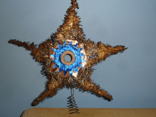 """ANTIQUE VTG METAL TINSEL FOIL CHRISTMAS FEATHER TREE STAR TOPPER GERMANY 8"""" TALL"""