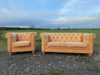 Chesterfield 2 Seater Sofa & Matching Club Chair.