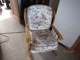 ERCOL ROCKING CHAIR, SOFA, CHAIR AND CUSHIONS