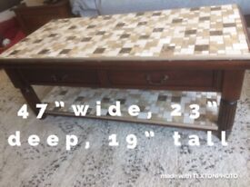 Solid wood table tiled top