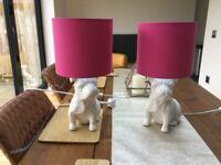 Debenhams Pug White Table Lamps x 2