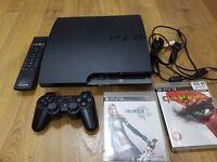 PlayStation 3 Slim 160GB, original controller, remote control, HDMI cable and 2 games, £85