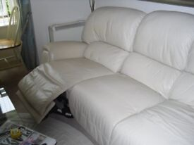 Leather electric reclining 3 seater sofa