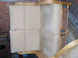 Cane, Rattan Sofa and two chairs beige apoholstery VGC