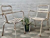 Vintage Pair of Metal Garden Chairs #821