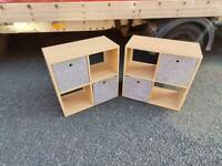 2 storage cubes with fabric containers inside £19each or both for £35